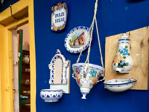 Kitschy, colourful souvenir shops in Colonia del Sacramento, Uruguay