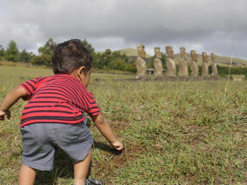 My toddler son digging at Ahu Akivi, Easter Island