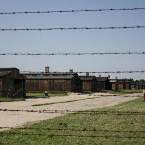 Crude, wooden barracks in the Birkenau death camp