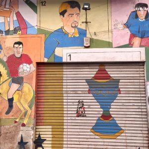 Football themed graffiti in La Boca