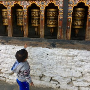 Learning about prayer wheels, Thimphu, Bhutan