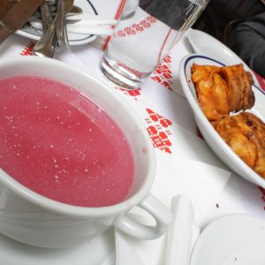 A popular Hungarian starter of cold, fruit soup.