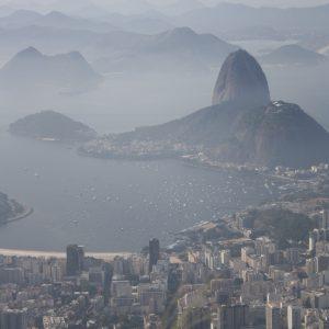 Bird's-eye view of Guanabara Bay from Corcovado mountain, Rio de Janeiro, Brazil
