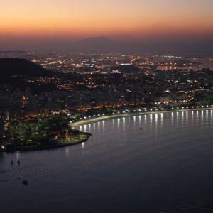 The sun sets over Rio de Janeiro, Rio de Janeiro, Brazil