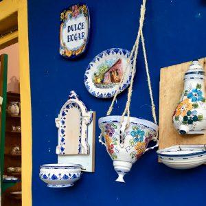 Kitschy, colourful souvenir shops in Colonia del Sacramento, Uruguay