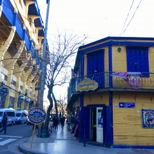 La Bombonera and surrounds - awash in blue and gold, La Boca, Buenos Aires