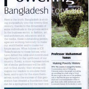 "Magazine scan of ""Powering Bangladesh Forward"" cover story"