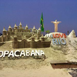 Stunning sand sculptures on Copacabana beach, Rio de Janeiro, Brazil