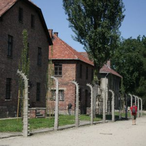 Neat rows of sun drenched, red buildings in Auschwitz I. The barbed wire is the only sign of what the place holds within.