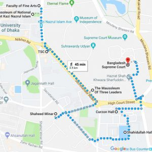 Walking map of a whirlwind tour of Dhaka University, courtesy of the author