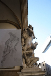 Trying to capture the Sabine Women at the Loggia dei Lanzi, Florence, Italy